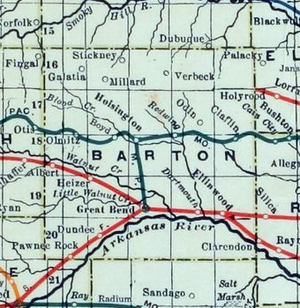 Marion and McPherson Railroad - Image: Stouffer's Railroad Map of Kansas 1915 1918 Barton County