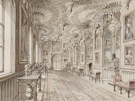 Imitation fan-vaulting in the Gothick Long Gallery at Horace Walpole's Strawberry Hill Strawberry Hill Gallery.jpg