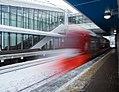 Streshnevo platform - stairs and departing ES2G blur.jpg