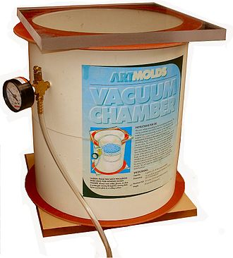 Vacuum chamber - A small vacuum chamber for studio or lab use in de-airing materials such as mold rubbers and resins.