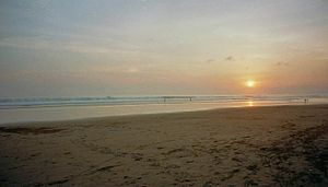 Sunset at Pangandaran beach.