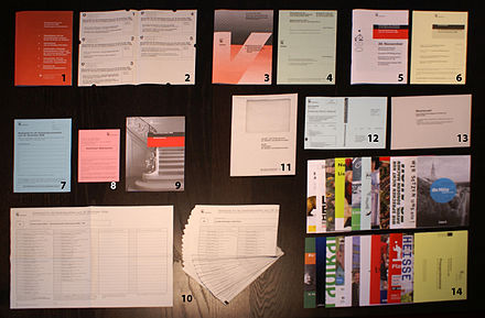 In Switzerland, without needing to register, every citizen receives ballot papers and information brochures for each vote (and can send it back by post). Switzerland has a direct democracy system and votes (and elections) are organised about four times a year; here, to Berne's citizen in November 2008 about 5 national, 2 cantonal, 4 municipal referendums, and 2 elections (government and parliament of the City of Berne) to take care of at the same time. Swiss voting material.jpg