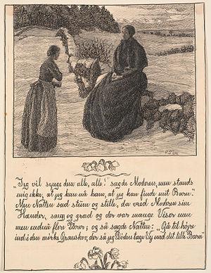 Fritz Syberg - Frantz Syberg Jeg vil synge dem alle, alle!, sagde Moderen (1898). Illustration for Hans Christian Andersen's Historien om en moder