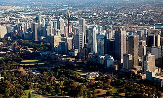 The central business district. Sydney is the financial and economic centre of Australia, having the largest economy and contributing a quarter of Australia's total GDP Sydney CBD on a sunny day (4607955327).jpg