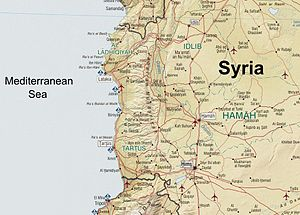 Map of Syria showing the mountain range