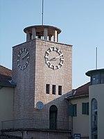 Szekszard railway station, clock tower, 2016 Szekszard.jpg