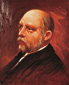 Painting of a bald, bearded late-middle-aged man in a suit, facing left.