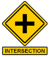 This Intersection sign appears above the clue box where the teams must join together