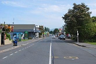 Takaka, New Zealand - Commercial Street, (New Zealand State Highway 60), the main street of Takaka