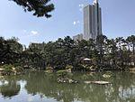 Takueichi Pond and Chozenkyo Pavillon in Shukkei Garden 1.jpg