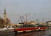 Tatra Tram 7821 in Bratislava, linka 4 March 1993