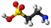 Ball-and-stick model of the taurine molecule