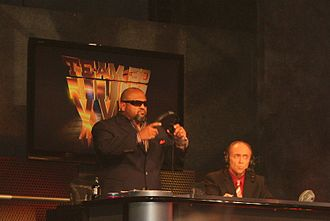 Tazz - Taz (left) with his commentary partner, Mike Tenay in July 2010