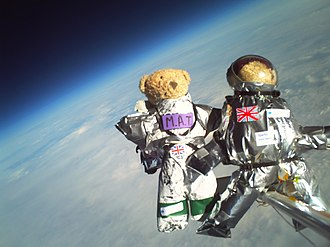 CU Spaceflight - Teddy bears lifted to 30,085 metres above sea level on a helium balloon in a materials experiment by CU Spaceflight and SPARKS science club. Each of the bears wore a different space suit designed by 11- to 13-year-olds from SPARKS.