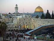 The Western Wall and Dome of the Rock. The compound on which the Dome of the Rock sits is known to Jews as the Temple Mount, the holiest site in Judaism, and known to Muslims as the Haram al-Sharif, one of the three holiest sites in Islam.