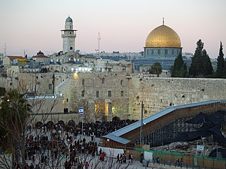 Tourism in Israel - The Western Wall and Dome of the Rock in the Old City of Jerusalem
