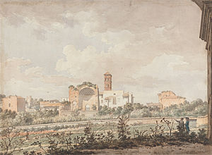 William Pars - Temple of Venus and Rome from the Colosseum by William Pars, watercolour with pen and ink, 1781.