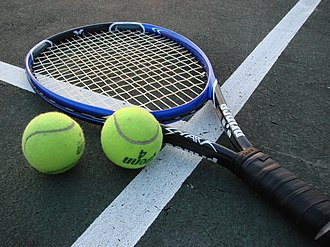 Racket (sports equipment) - A modern tennis racket, with carbon fiber-reinforced polymer frame.