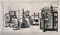 Textiles; a spinning wheel and a stocking machine. Engraving Wellcome V0023709.jpg