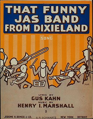 "Jazz (word) - ""That Funny Jas Band From Dixieland"", 1916 sheet music cover. Alternative spellings such as ""jass"", ""jas"" and even ""jasz"" were seen until 1918."