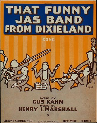"Jazz (word) - Sheet music cover from 1916; spellings such as ""jas"", ""jass"" and ""jasz"" were seen until 1918."