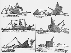 Drawing of sinking in four steps from eye witness description