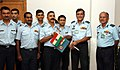 The Air Officer- in-charge Administration, Indian Air Force Air Marshal JN Burma handing over the flag of IAF to the team leader of mountaineering team to be scaling mount Denali (6194m),Alaska.jpg