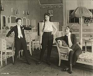 The Amazons (1917 film) - From left: Tommy (Marguerite Clark), Willie (Eleanor Lawson), and Noel (Helen Greene) in a publicity still