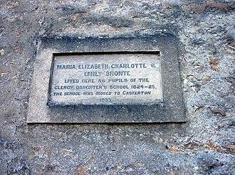 Cowan Bridge School - A dedication plaque on the building.