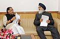 The Chief Minister of Punjab, Shri Prakash Singh Badal calling on the Union Minister for Agriculture, Shri Radha Mohan Singh, in New Delhi on February 12, 2015.jpg