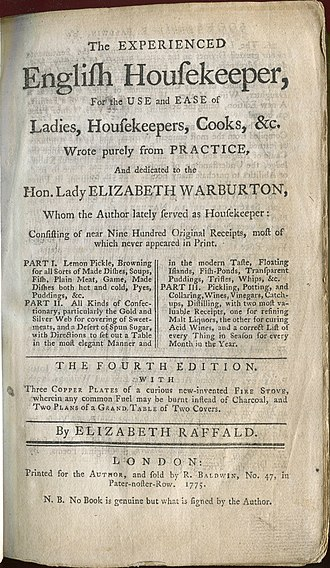 The Experienced English Housekeeper - Title page, 1775 edition