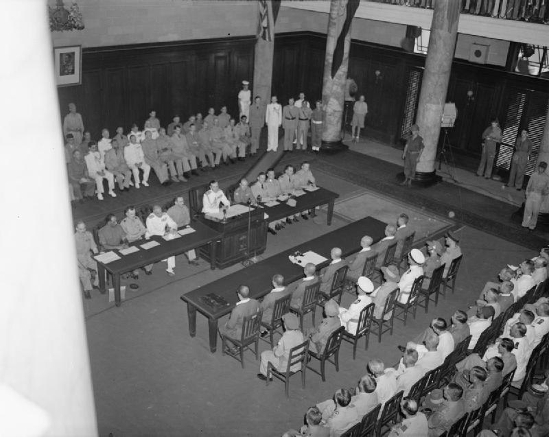 The Japanese Southern Armies surrender at Singapore on September 12, 1945. General Itagaki surrendered to the British represented by Lord Mountbatten at Municipal Hall, Singapore.