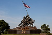 Sculpture of five Marines erecting an American flag