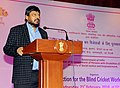 The Minister of State for Social Justice & Empowerment, Shri Ramdas Athawale addressing at the felicitation ceremony of the 'Blind Cricket World Cup-winning Indian Team', in New Delhi on February 21, 2018.jpg
