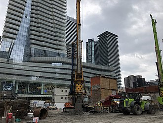 The One (Toronto) - The One construction site (foreground) in May 2018 with One Bloor in the background