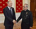 The President, Shri Pranab Mukherjee being received by the President of the Russian Federation, Mr. Vladimir Putin on his meeting, at Kremlin, in Russia on May 09, 2015.jpg