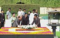 The President of Lao PDR, Mr. Choummaly Sayasone laying wreath at the Samadhi of Mahatma Gandhi at Rajghat, in Delhi on August 27, 2008.jpg