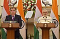 The Prime Minister, Shri Narendra Modi and the President of the Republic of Tajikistan, Mr. Emomali Rahmon at the Joint Press Statement, at Hyderabad House, in New Delhi on December 17, 2016.jpg