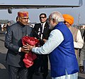 The Prime Minister, Shri Narendra Modi being seen off by the Governor of Bihar, Shri Ram Nath Kovind and the Chief Minister of Bihar, Shri Nitish Kumar, on his departure from Patna on January 05, 2017.jpg