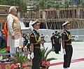 The Prime Minister, Shri Narendra Modi during the ceremonial reception, at Paro International Airport, in Bhutan on June 15, 2014.jpg