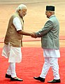 The Prime Minister of Nepal, Shri K.P. Sharma Oli with the Prime Minister, Shri Narendra Modi, at the Ceremonial Reception, at Rashtrapati Bhavan, in New Delhi on February 20, 2016 (5).jpg