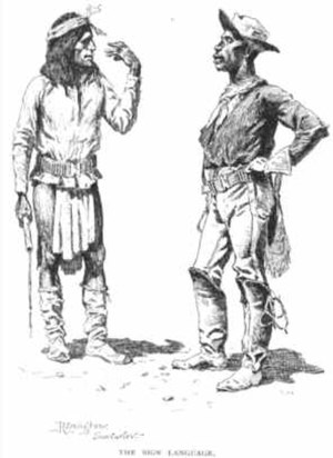 Cherry Creek Campaign - The Sign Language by Frederic Remington shows an Apache scout and a Buffalo soldier during the Apache Campaign in 1889.