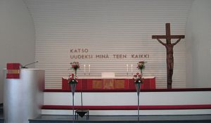 Kannonkoski - Image: The altar of Kannonkoski Church