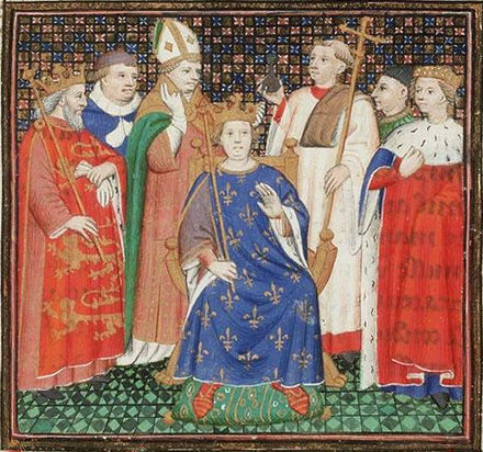The coronation of Philip II Augustus in the presence of Henry II of England The coronation of Philippe II Auguste in the presence of Henry II of England.jpg
