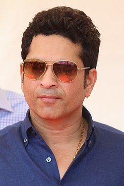 The cricket legend Sachin Tendulkar at the Oval Maidan in Mumbai During the Duke and Duchess of Cambridge Visit(26271019082).jpg