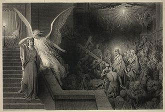Pontius Pilate's wife - The Dream of Pilate's Wife (ca. 1879), engraving by Alphonse François, after Gustave Doré