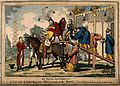 The gouty Prince Regent being helped onto his horse by means Wellcome V0011329.jpg