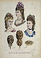 The heads of three women wearing chignons decorated with flo Wellcome V0019886ER.jpg