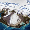 The ice of a piedmont glacier spills from a steep valley onto a relatively flat plain. Malaspina Glacier, Alaska. Original from NASA. Digitally enhanced by rawpixel.jpg