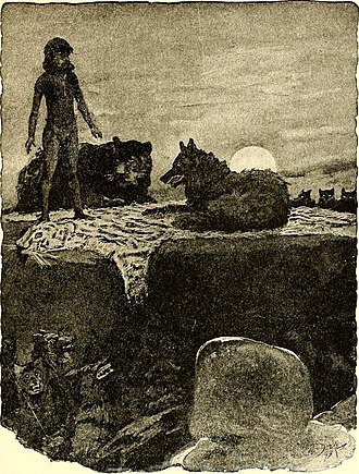 The Jungle Book - Mowgli, Bagheera, and the wolf pack with Shere Khan's skin. Illustration by W. H. Drake. First edition, 1894